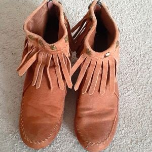 Brown Faux Suede Booties with Fringe and Heel - 9